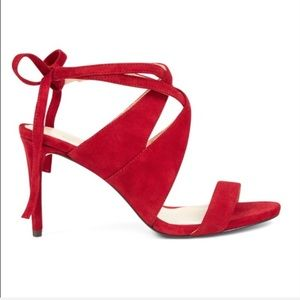 Nine West- Ronnie open toe red suede sandals